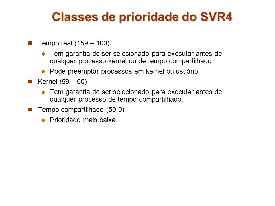 Classes de prioridade do SVR4