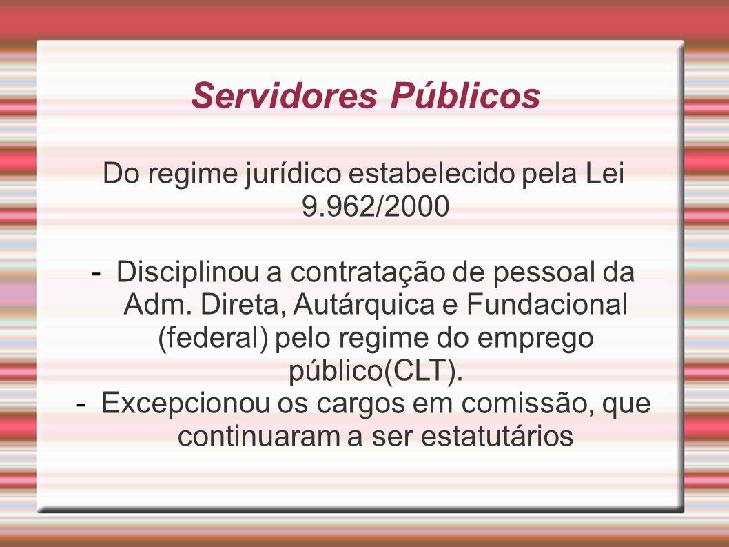 Servidores Públicos Do regime jurídico estabelecido pela Lei 9.962/2000.