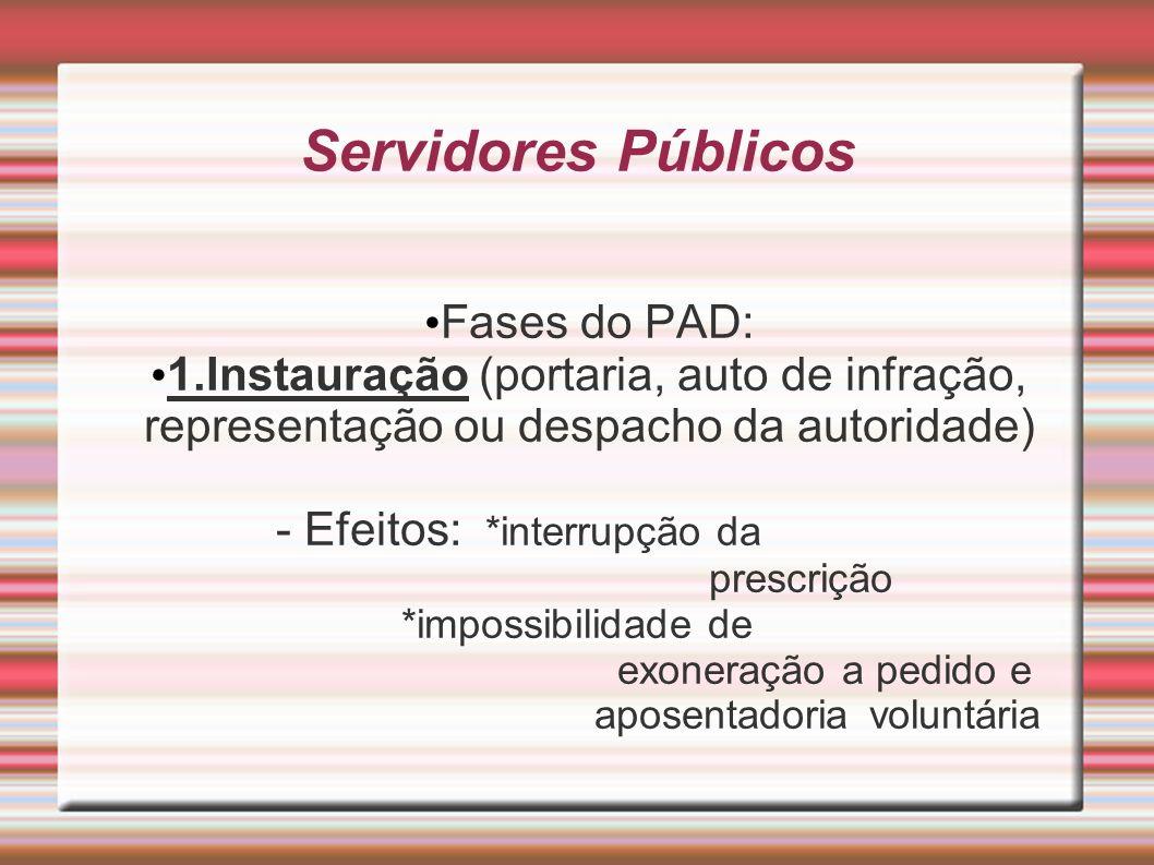 Servidores Públicos Fases do PAD: