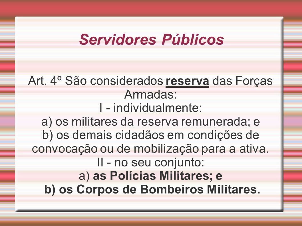 Servidores Públicos Art. 4º São considerados reserva das Forças Armadas: I - individualmente: a) os militares da reserva remunerada; e.