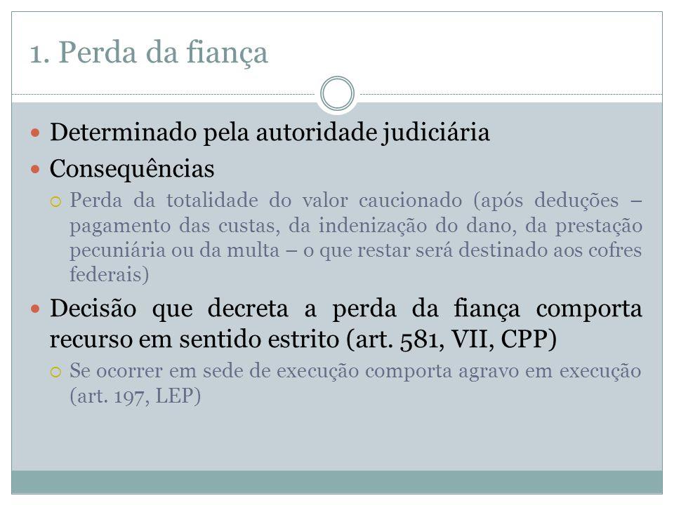 1. Perda da fiança Determinado pela autoridade judiciária