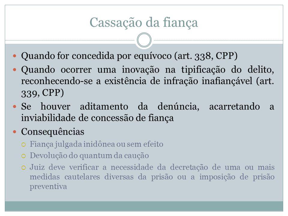 Cassação da fiança Quando for concedida por equívoco (art. 338, CPP)