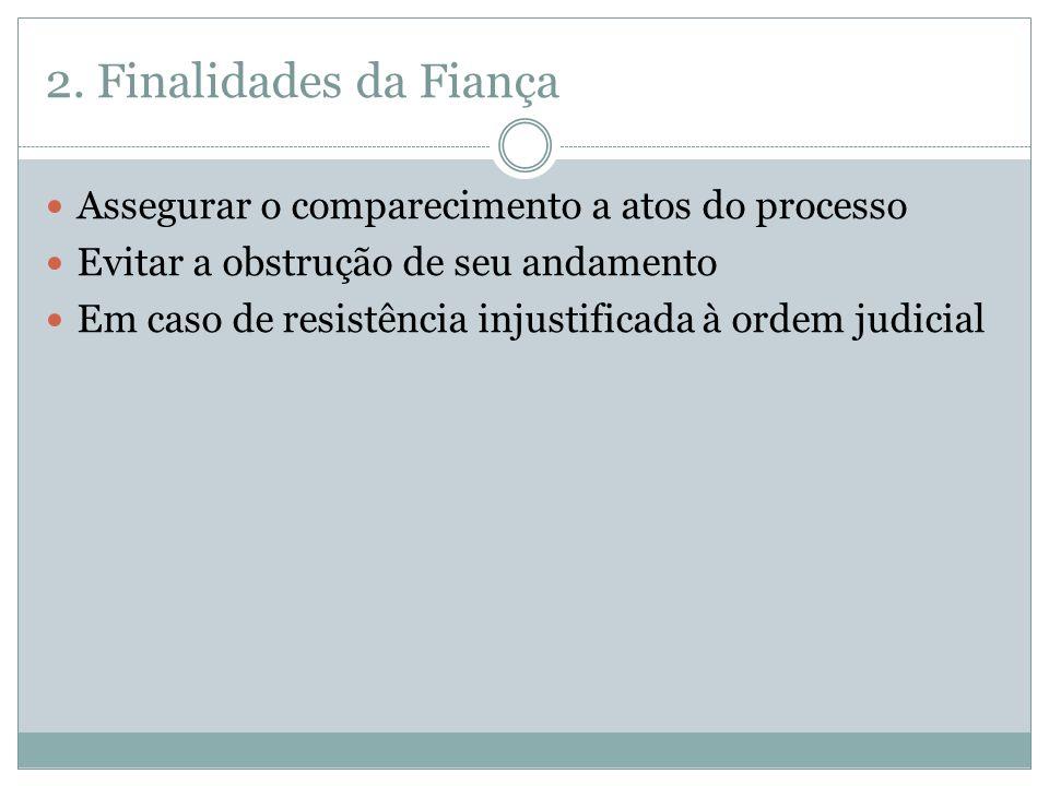 2. Finalidades da Fiança Assegurar o comparecimento a atos do processo
