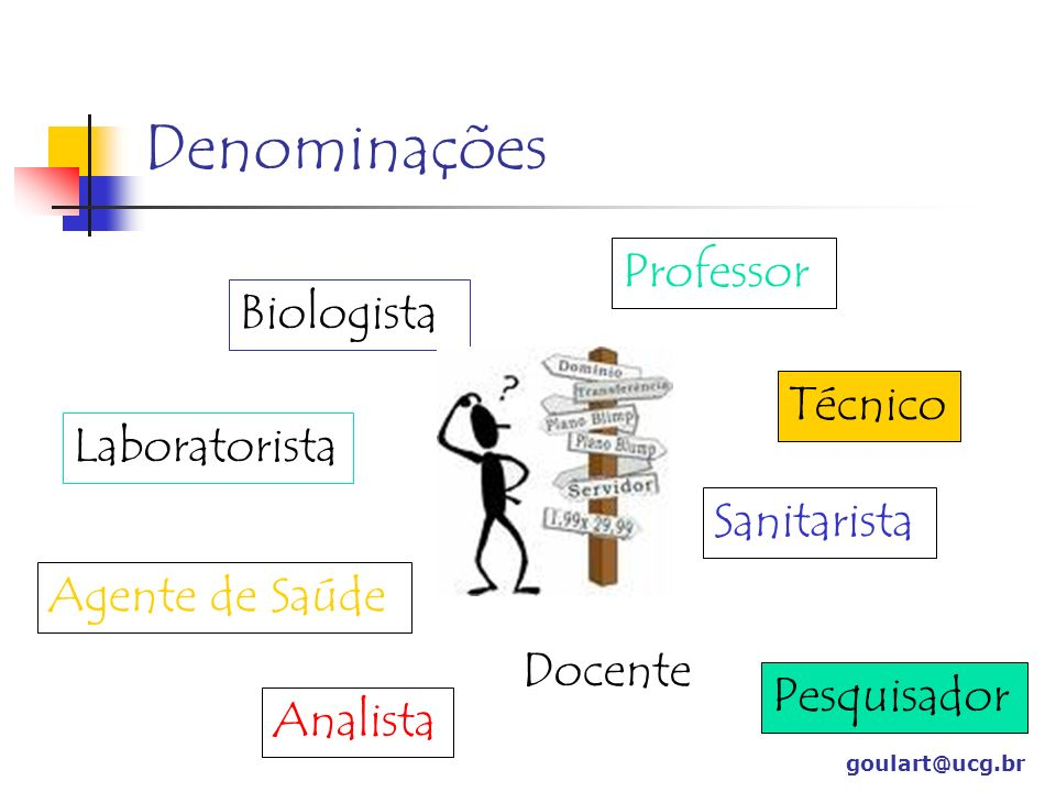 Denominações Professor Biologista Técnico Laboratorista Sanitarista