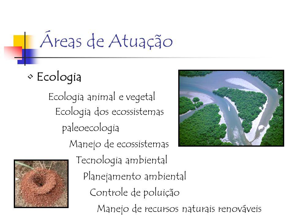 Áreas de Atuação Ecologia Ecologia animal e vegetal