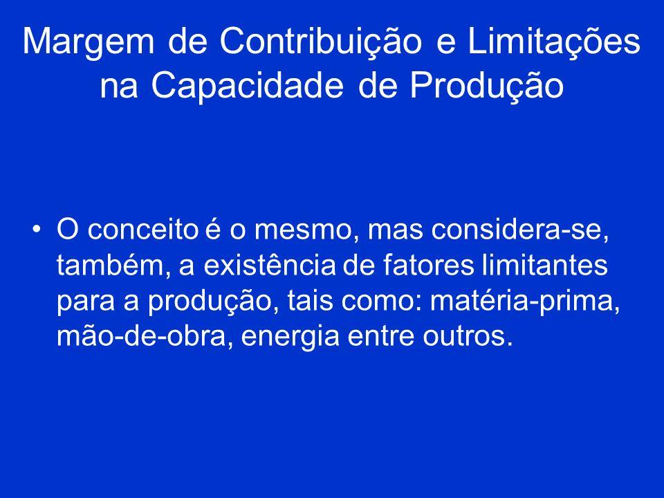 Margem de Contribuição e Limitações na Capacidade de Produção