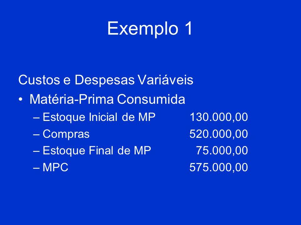 Exemplo 1 Custos e Despesas Variáveis Matéria-Prima Consumida