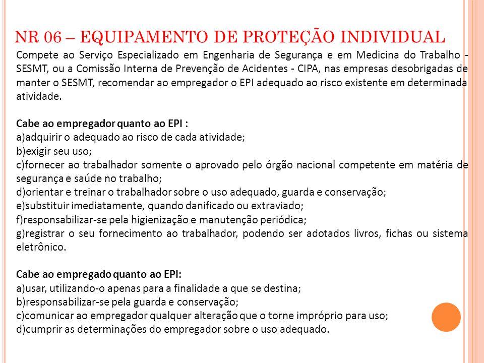 NR 06 – EQUIPAMENTO DE PROTEÇÃO INDIVIDUAL