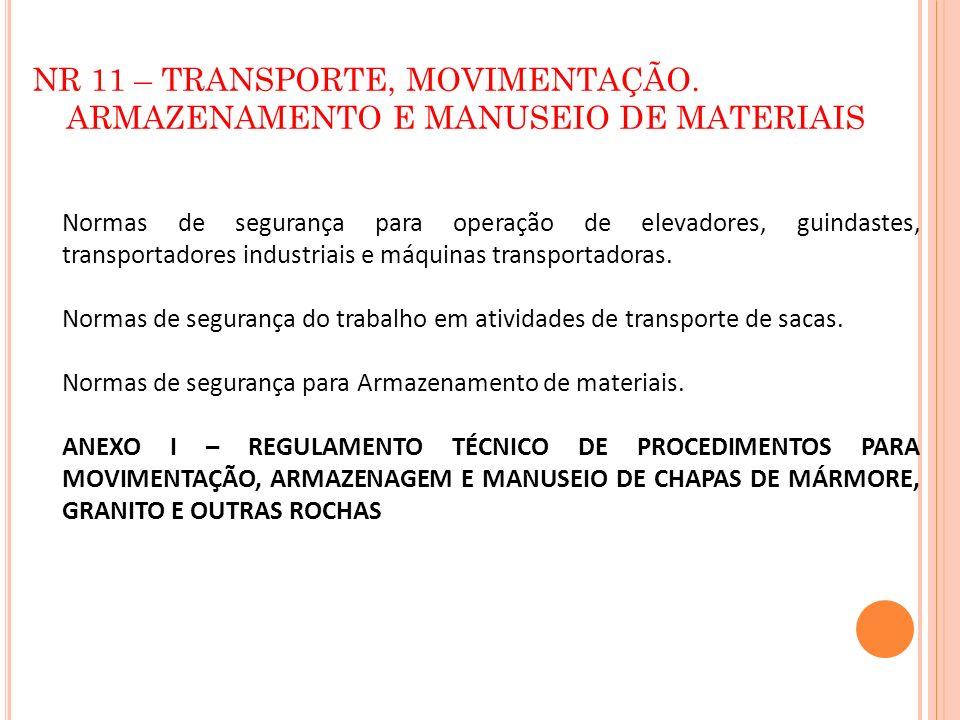 NR 11 – TRANSPORTE, MOVIMENTAÇÃO. ARMAZENAMENTO E MANUSEIO DE MATERIAIS