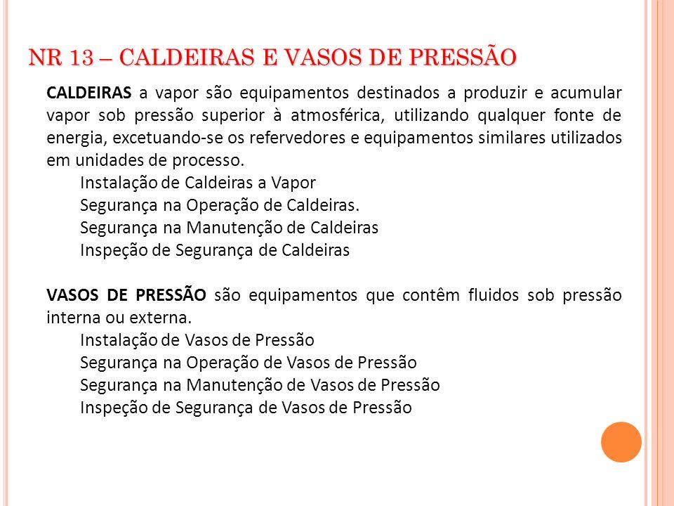 NR 13 – CALDEIRAS E VASOS DE PRESSÃO