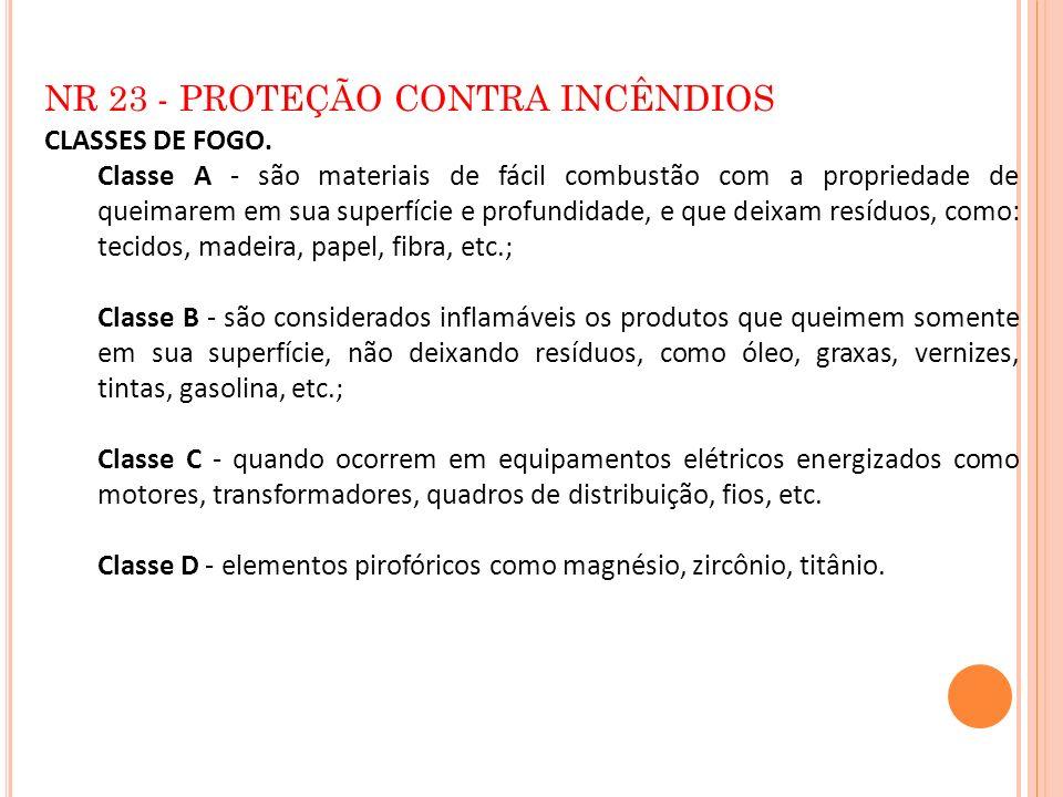 NR 23 - PROTEÇÃO CONTRA INCÊNDIOS
