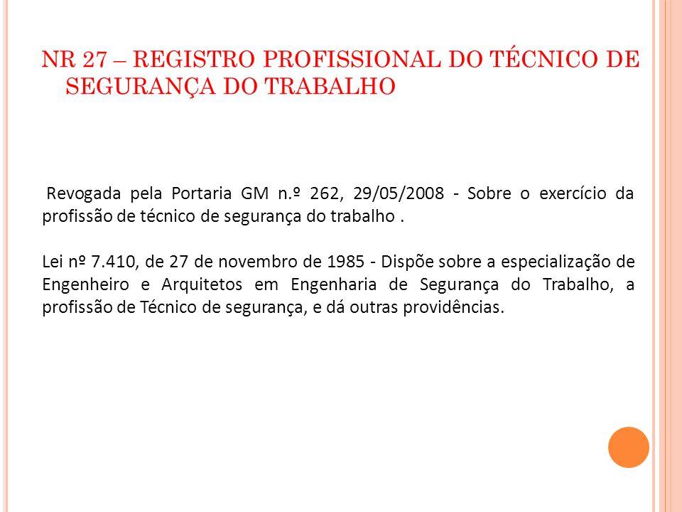 NR 27 – REGISTRO PROFISSIONAL DO TÉCNICO DE SEGURANÇA DO TRABALHO