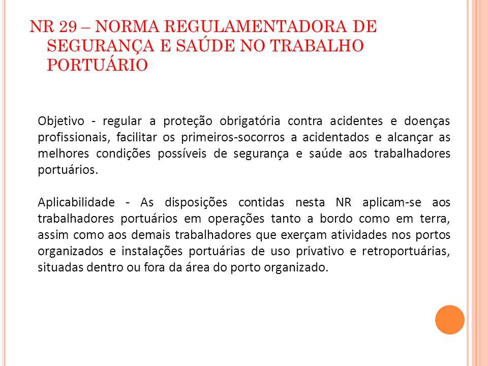 NR 29 – NORMA REGULAMENTADORA DE SEGURANÇA E SAÚDE NO TRABALHO PORTUÁRIO