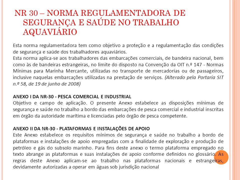 NR 30 – NORMA REGULAMENTADORA DE SEGURANÇA E SAÚDE NO TRABALHO AQUAVIÁRIO