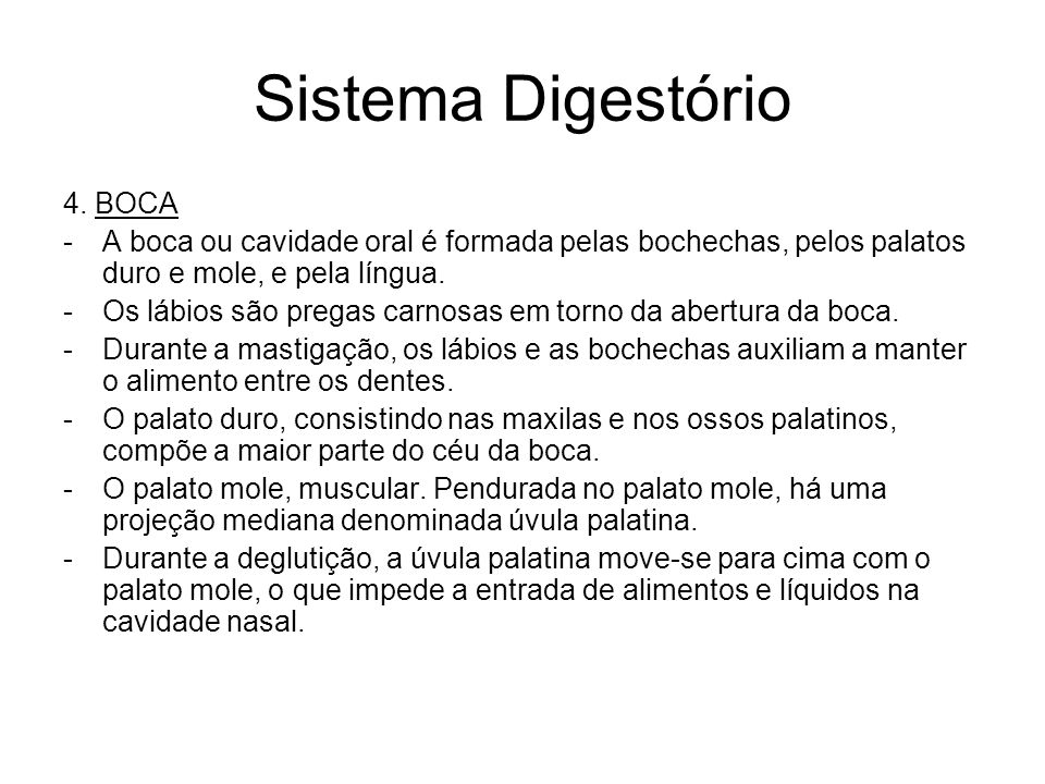 Sistema Digestório 4. BOCA