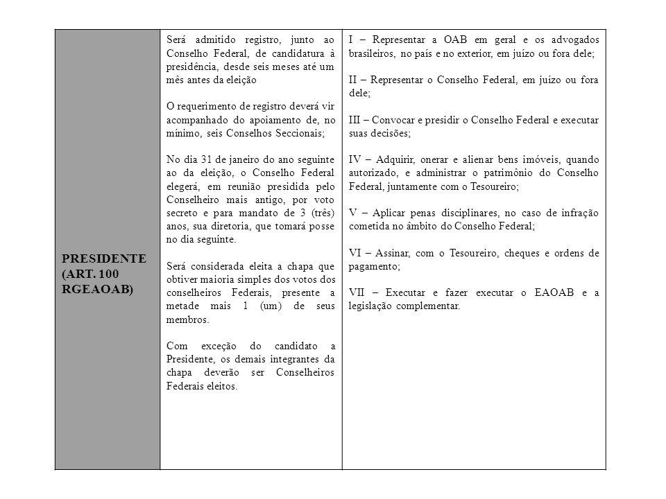 PRESIDENTE (ART. 100 RGEAOAB)