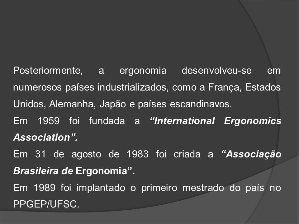Posteriormente, a ergonomia desenvolveu-se em numerosos países industrializados, como a França, Estados Unidos, Alemanha, Japão e países escandinavos.