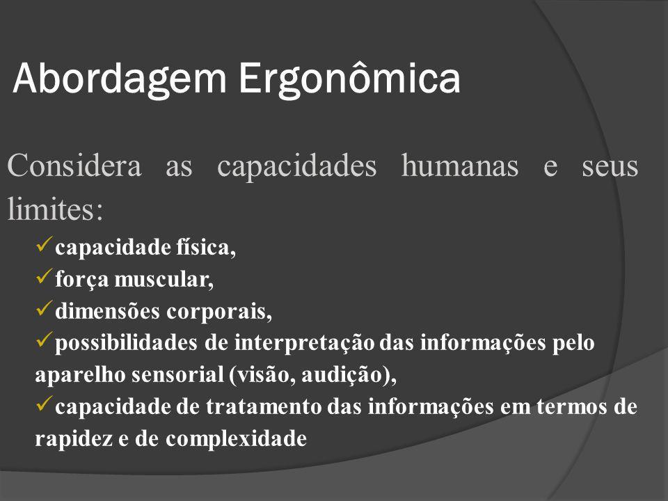 Abordagem Ergonômica Considera as capacidades humanas e seus limites: