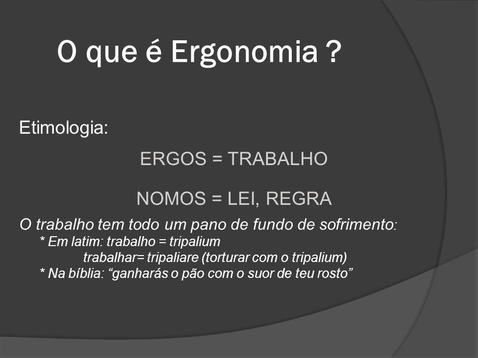 O que é Ergonomia Etimologia: ERGOS = TRABALHO NOMOS = LEI, REGRA