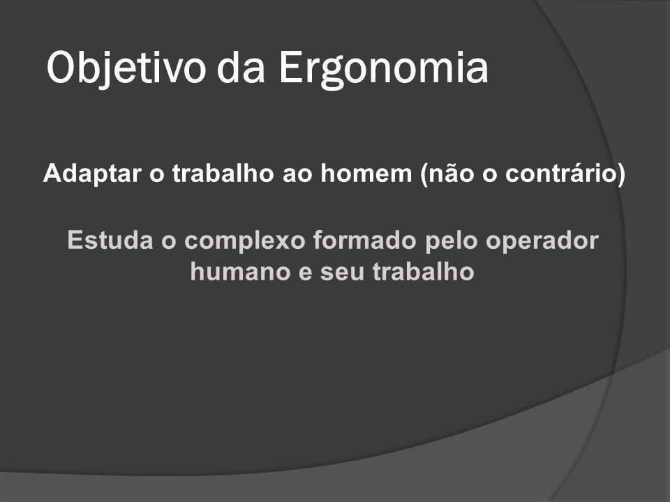 Objetivo da Ergonomia Adaptar o trabalho ao homem (não o contrário) Estuda o complexo formado pelo operador humano e seu trabalho