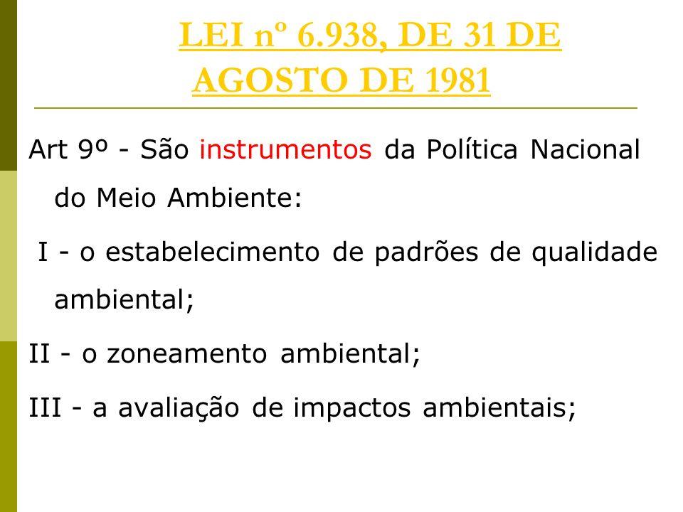 LEI nº 6.938, DE 31 DE AGOSTO DE 1981 Art 9º - São instrumentos da Política Nacional do Meio Ambiente: