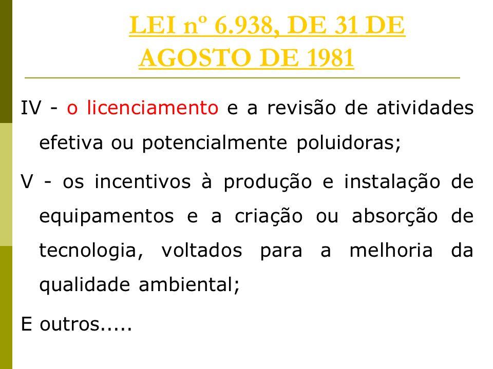 LEI nº 6.938, DE 31 DE AGOSTO DE 1981 IV - o licenciamento e a revisão de atividades efetiva ou potencialmente poluidoras;
