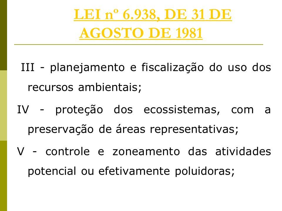 LEI nº 6.938, DE 31 DE AGOSTO DE 1981 III - planejamento e fiscalização do uso dos recursos ambientais;