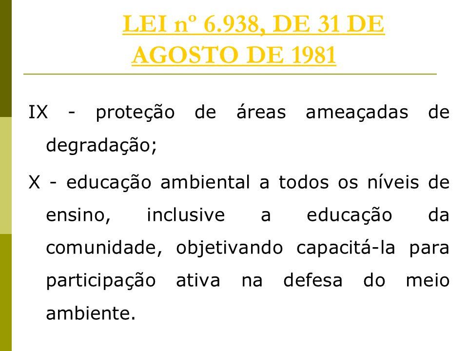 LEI nº 6.938, DE 31 DE AGOSTO DE 1981 IX - proteção de áreas ameaçadas de degradação;