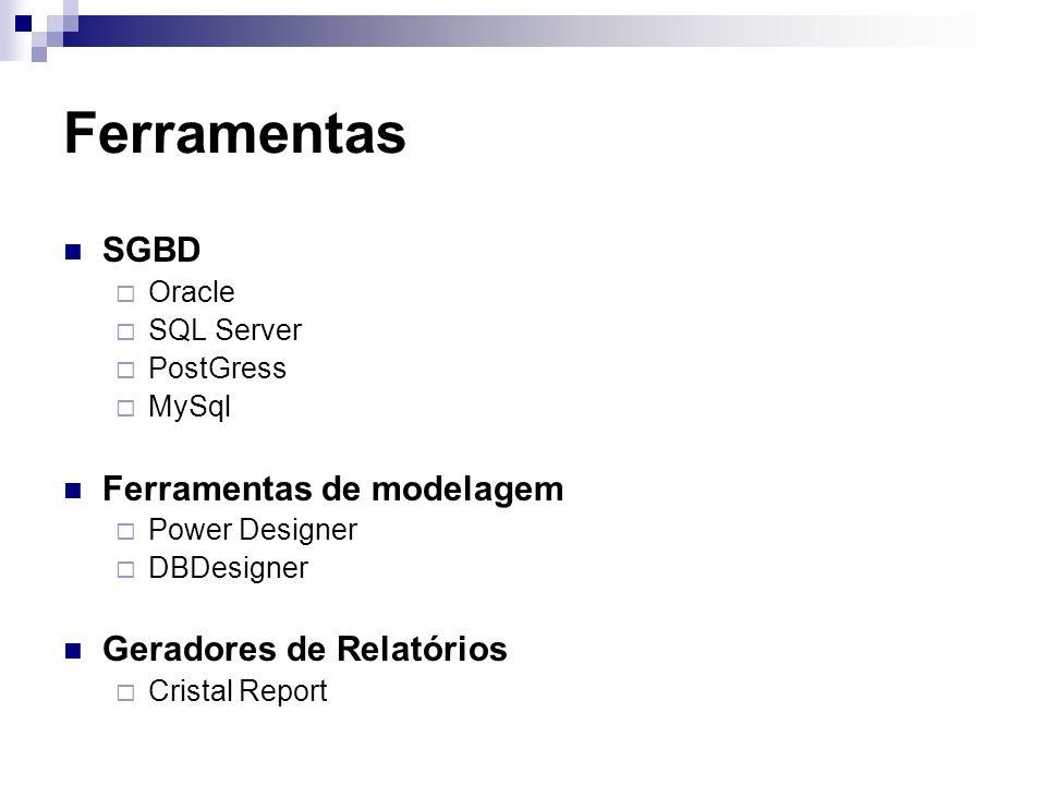 Ferramentas SGBD Ferramentas de modelagem Geradores de Relatórios