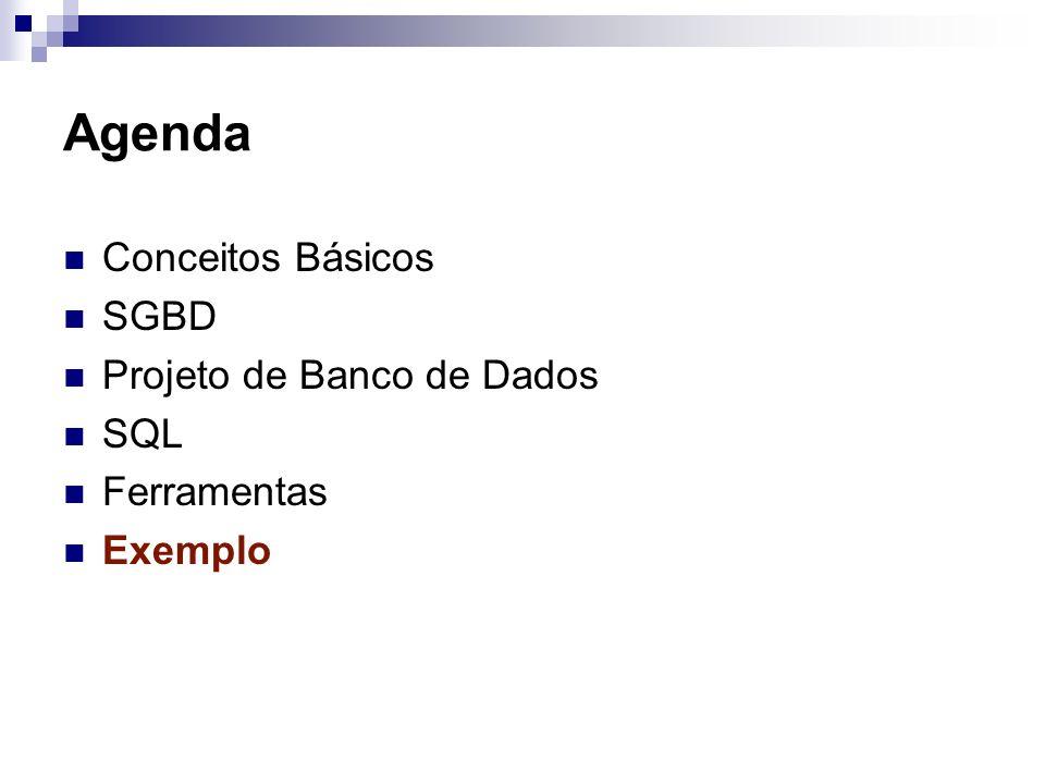 Agenda Conceitos Básicos SGBD Projeto de Banco de Dados SQL