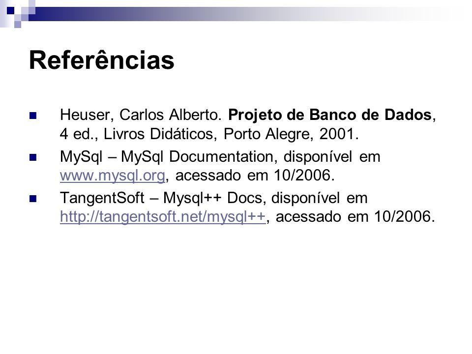 Referências Heuser, Carlos Alberto. Projeto de Banco de Dados, 4 ed., Livros Didáticos, Porto Alegre, 2001.