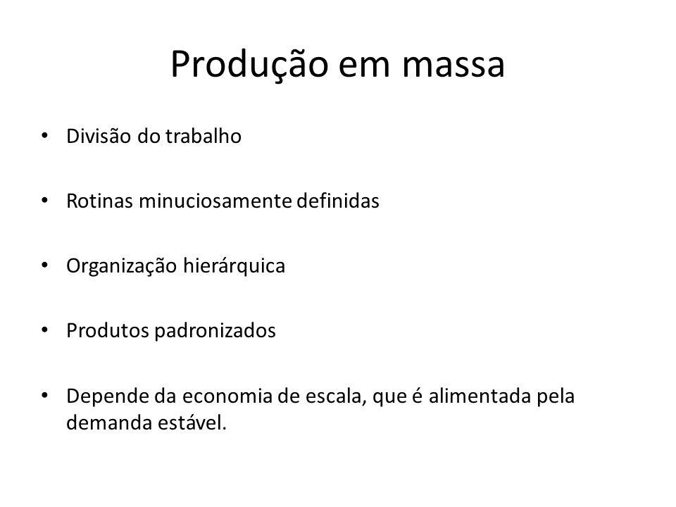 Produção em massa Divisão do trabalho Rotinas minuciosamente definidas
