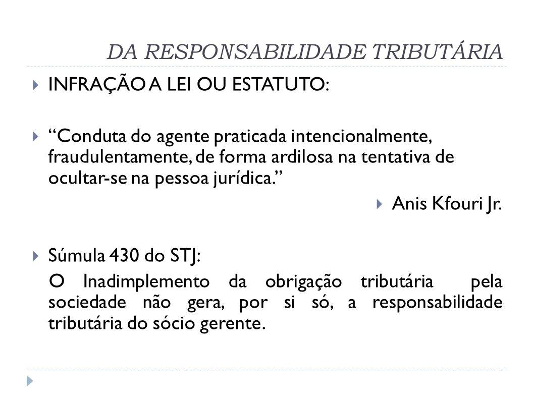 DA RESPONSABILIDADE TRIBUTÁRIA