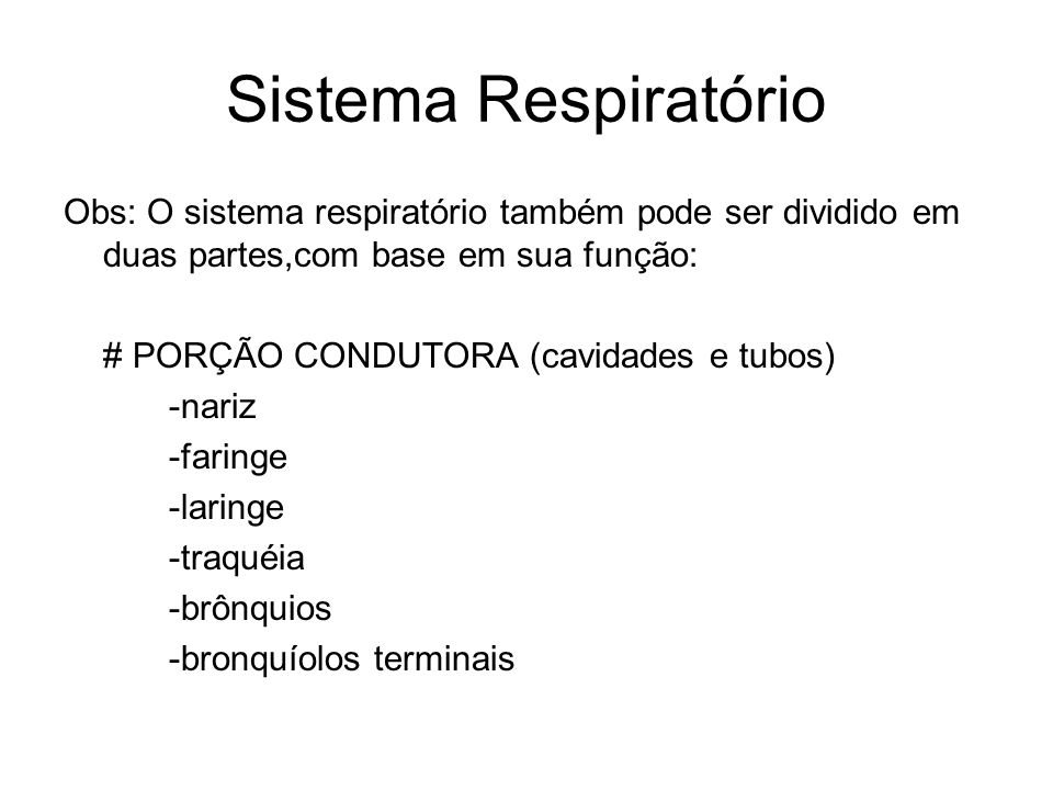 Sistema Respiratório Obs: O sistema respiratório também pode ser dividido em duas partes,com base em sua função: