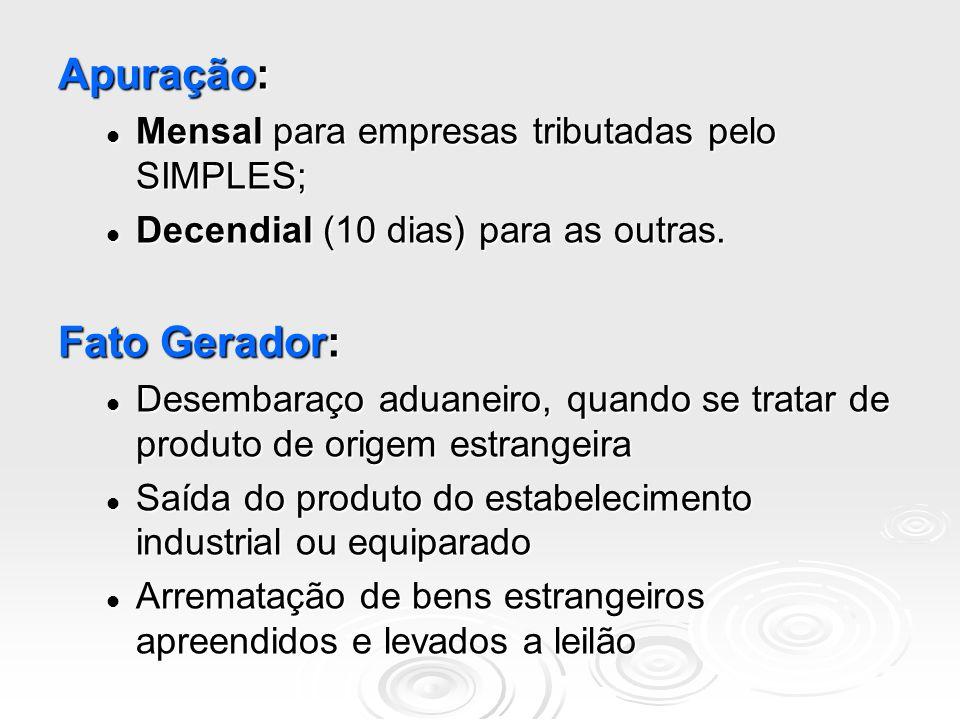 Apuração: Fato Gerador: Mensal para empresas tributadas pelo SIMPLES;
