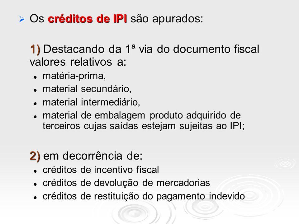 Os créditos de IPI são apurados: