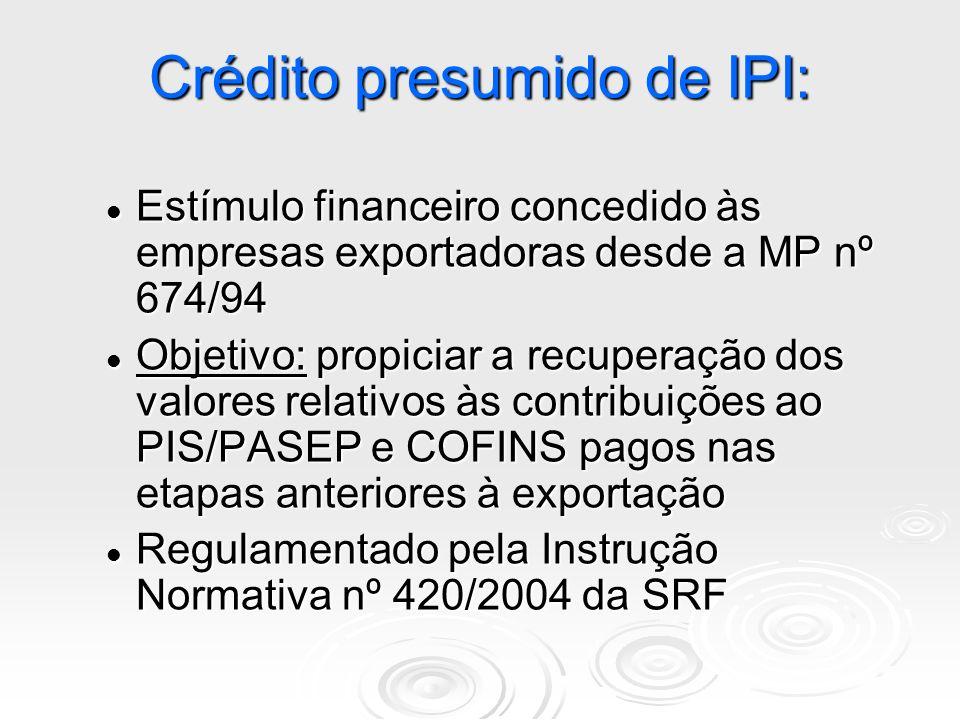 Crédito presumido de IPI: