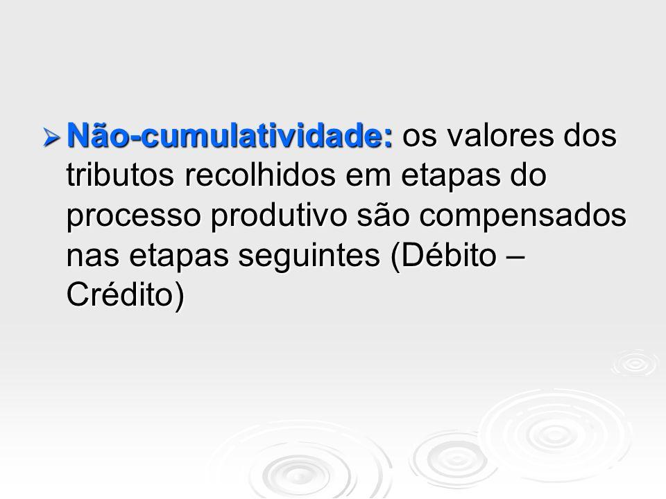 Não-cumulatividade: os valores dos tributos recolhidos em etapas do processo produtivo são compensados nas etapas seguintes (Débito – Crédito)