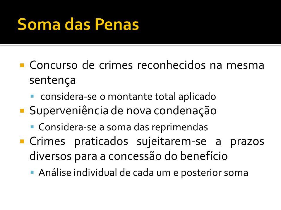 Soma das Penas Concurso de crimes reconhecidos na mesma sentença