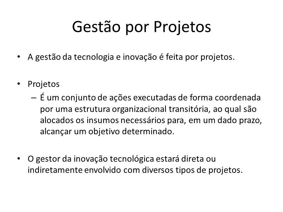 Gestão por Projetos A gestão da tecnologia e inovação é feita por projetos. Projetos.