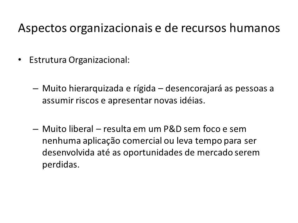 Aspectos organizacionais e de recursos humanos