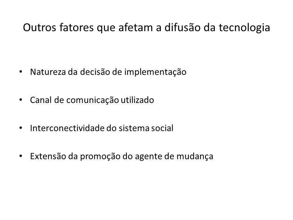 Outros fatores que afetam a difusão da tecnologia