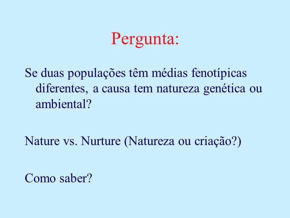 Pergunta: Se duas populações têm médias fenotípicas diferentes, a causa tem natureza genética ou ambiental