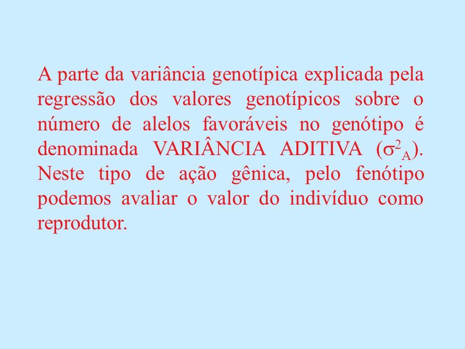 A parte da variância genotípica explicada pela regressão dos valores genotípicos sobre o número de alelos favoráveis no genótipo é denominada VARIÂNCIA ADITIVA (2A).
