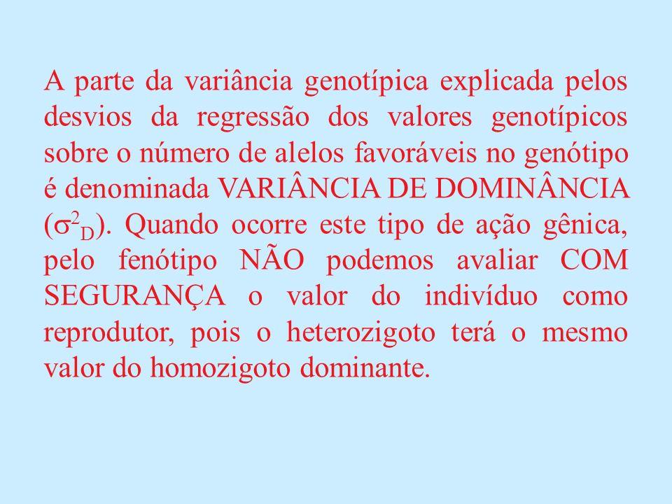 A parte da variância genotípica explicada pelos desvios da regressão dos valores genotípicos sobre o número de alelos favoráveis no genótipo é denominada VARIÂNCIA DE DOMINÂNCIA (2D).