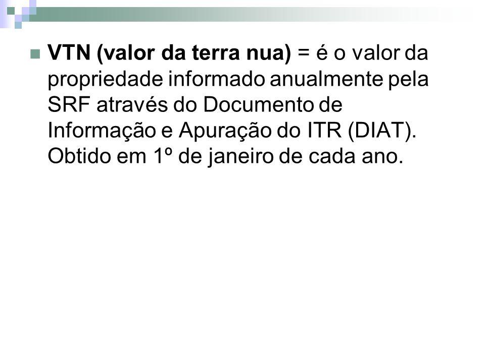 VTN (valor da terra nua) = é o valor da propriedade informado anualmente pela SRF através do Documento de Informação e Apuração do ITR (DIAT).