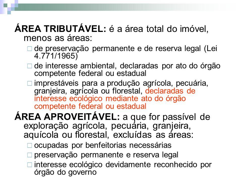 ÁREA TRIBUTÁVEL: é a área total do imóvel, menos as áreas: