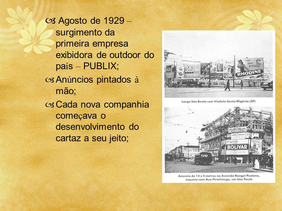 Agosto de 1929 – surgimento da primeira empresa exibidora de outdoor do país – PUBLIX;