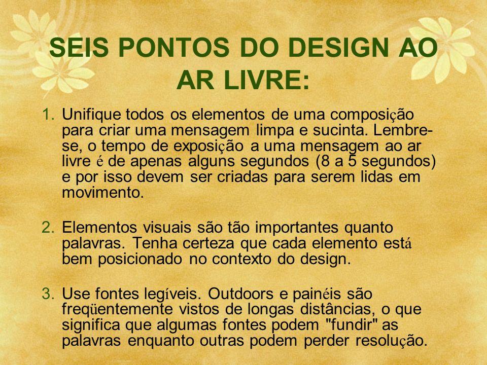 SEIS PONTOS DO DESIGN AO AR LIVRE: