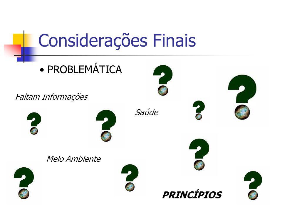 Considerações Finais PROBLEMÁTICA PRINCÍPIOS Faltam Informações Saúde